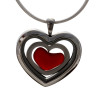 Red sea glass heart combined a large silver heart in this sea glass locket necklace.