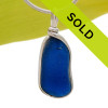 Long Deep Royal Blue Sea Glass Necklace Pendant in Original Wire Bezel© sterling silver setting.