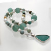 Amazing Glossy Amazonite English Sea Glass 3 in 1 Convertible Necklace