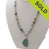 Matte Amazonite English Sea Glass 3 in 1 Convertible Necklace With Seafoam Pendant SOLD - Sorry this Limited Edition Sea Glass Jewelry selection is NO LONGER AVAILABLE!!