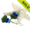 Genuine Sea Glass from England, Hawaii and Puerto gives these earrings a lovely color combination that will match many outfits. SOLD - Sorry these Rare Sea Glass Earrings are NO LONGER AVAILABLE!