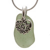 A perfect piece of seaweed green genuine sea glass with a solid sterling bail and MOM charm. This piece comes complete with our sterling 1MM snake chain.