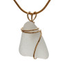 Though white sea glass is considered common as it can still be found on beaches worldwide, white sea glass can be old as well. This pendant piece looks to be older as it is well frosted and thicker.