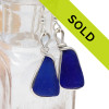 Vivid cobalt blue sea glass pieces set in our Original Wire Bezel© sea glass earring setting.  Sorry this sea glass jewelry selection has been sold!