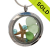 Summer Beach lover -  Genuine Sea Glass Locket Necklace With Starfish & Gemstones
