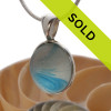A  natural beach found mixed aqua blue sea glass gemball set in our Deluxe Wire Bezel©. Sorry this ultra rare sea glass jewelry piece has been sold!