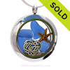 Beautiful  pieces of genuine cobalt blue sea glass  a real starfish and a solid sterling MOM charm completes this sea glass locket necklace. Sorry this Sea Glass Locket has been SOLD!