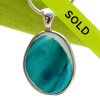 This ultra rare vivid teal Seaham sea glass multi color pendant is set in our Deluxe Wire Bezel© pendant setting. Sorry this sea glass pendant has been sold!