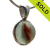 A stunning orange cats eye sea glass marble mixed in our Deluxe Wire Bezel© pendant setting. SOLD - Sorry this Ultra Rare Sea Glass Pendant is NO LONGER AVAILABLE!
