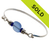 Two pieces of beach found sea glass in a rich cobalt blue on this solid sterling silver sea glass bangle bracele. Sorry this sea glass jewelry selection has been sold!