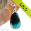 A beautiful larger piece of vivid teal green English Multi sea glass set for a necklace in our Original Sea Glass Bezel© in solid sterling silver setting. Sorry this piece of sea glass jewelry has been sold!