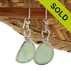 Genuine beach found Yellowy Simple  Seafoam Green Sea Glass Earrings in a Solid Sterling Silver Original Wire Bezel© setting. SOLD - Sorry these Sea Glass Earrings are NO LONGER AVAILABLE!