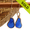Vivid ridged cobalt blue sea glass pieces set in our Original Wire Bezel© setting.  Sorry this Sea Glass Jewelry selection has been SOLD!