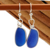 Long Luscious Vivid Blue English Sea Glass Earrings in our Original Wire Bezel© setting in solid Sterling Silver.