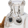 Beach found white sea glass earrings with solid sterling sandollar charms.