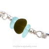 A detail of this bracelet shows you the very thick round piece of genuine beach found sea glass.