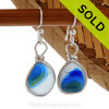 A great match in my English Multi Sea Glass Earrings in a tri color vivid mixed Blue & Green set in our Original Wire Bezel© setting in silver. Sorry this sea glass jewelry selection has been sold!