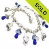Delft Flip - Genuine Multi Blue Sea Glass W/ Sterling Charm Bracelet