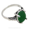 A natural UNALTERED unusual bright green sea glass piece set in a sterling silver scroll ring. The sea glass is loosely set but will be fully set upon arrival. This is the EXACT sea glass ring you will receive!