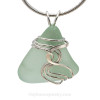 A beautiful natural sea glass jewelry set in our original signature setting in solid sterling silver.