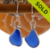 Cobalt blue Sea Glass Earrings in our signature Original Wire Bezel© in sterling silver. SORRY - this Sea Glass Jewelry selection is NO LONGER AVAILABLE.