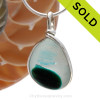 A vivid Electric Aqua English Multi sea glass set for a necklace in our Original Sea Glass Bezel© in solid sterling silver setting. SOLD - Sorry this Sea Glass Jewelry Selection is NO LONGER AVAILABLE!