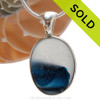 This ultra ULTRA RARE rare multi bright blue and white pendant is set in our Deluxe Wire Bezel© pendant setting in solid sterling silver. Sorry this Ultra Rare Sea Glass Jewelry piece has been SOLD.