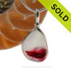 Large and Thick Pink Tourmaline English Sea Glass Necklace Pendant In Sterling Wire Bezel© - October Birthstone