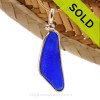 A long intense cobalt blue Sea Glass Pendant set in 14K Rolled Gold, a great pendant for a necklace. SOLD - Sorry this Sea Glass Jewelry selection is NO LONGER AVAILABLE!