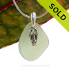 SOLD - Sorry This Sea Glass Jewerly Selection Is NO LONGER AVAILABLE! A perfect piece of natural beach found seaweed green sea glass is combined with a solid lobster charm and presented on an 18 Inch solid sterling snake chain.