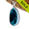 An unusual piece of mixed Long Teal Green English Multi sea glass set for a necklace in our Original Sea Glass Bezel© in solid sterling silver setting. SOLD - Sorry This Sea Glass Jewerly Selection Is NO LONGER AVAILABLE