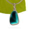 A vivid Teal English Multi sea glass set for a necklace in our Original Sea Glass Bezel© in solid sterling silver setting.