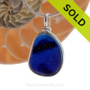 A Rich Deep Blue Striped English Multi sea glass set for a necklace in our Original Sea Glass Bezel© in Solid Sterling Silver setting. SOLD - Sorry This Sea Glass Jewelry Selection Is NO LONGER AVAILABLE!