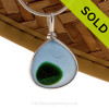 A Rich Bright Blue and Vivid Green English Multi sea glass set for a necklace in our Original Sea Glass Bezel© in Solid Sterling Silver setting. SOLD - Sorry this Ultra Rare Sea Glass Pendant is NO LONGER AVAILABLE!