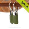 Simple beach found jungle green sea glass pieces on solid sterling silver leverback earrings. SOLD - Sorry these Sea Glass Earrings are NO LONGER AVAILABLE!