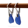 Simple Genuine Sea Glass Earrings on Sterling Silver Leverbacks.