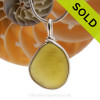 A stunning citron of yellowy green sea glass set in our Original Wire Bezel© necklace pendant setting in Solid Sterling. SOLD - Sorry this Sea Glass Jewelry Selection is NO LONGER AVAILABLE!