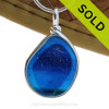 A very large and flat size piece of deep midnight mixed cobalt blue sea glass set in our Original Deluxe Wire Bezel© necklace pendant. SOLD - Sorry this Rare Sea Glass Pendant is NO LONGER AVAILABLE!