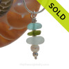 SPECIAL piece this deep aqua , seaweed green and off white in this English sea glass stacked necklace is TOP QUALITY! SOLD - Sorry this Sea Glass Necklace is NO LONGER AVAILABLE!