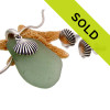 Sorry this Sea Green Sea Glass Set In Sterling Shell Charms & Matching Post Earrings has sold!