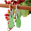 Green long genuine sea glass pieces shaped only by the sea, sand and time are suspended on solid sterling leverback earrings.