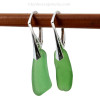 Green long genuine sea glass pieces shaped only by the sea, sand and time are suspended on solid sterling leverback earrings. This is the EXACT pair of Sea Glass Earrings you will receive!