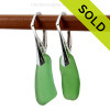 Green long genuine sea glass pieces shaped only by the sea, sand and time are suspended on solid sterling leverback earrings. SOLD - These Sea Glass Earrings are NO LONGER AVAILABLE!