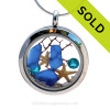 Vivid Zircon gemstones, real Blue Sea Glass and two real starfish are snug inside this one of a kind sea glass locket necklace. SOLD - Sorry This Sea Glass Jewerly Selection Is NO LONGER AVAILABLE!