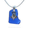 Vivid Cobalt Blue Sea Glass Necklace set on a solid sterling cast bail with a sterling silver Sea Turtle charm.