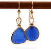 Classic lucky cobalt blue sea glass earrings perfectly matched and set in 14K G/F Original Wire Bezel©