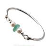 Aqua Green Sea Glass Bangle Bracelet In Sterling Silver W/ Freshwater Pearls