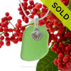 """Bright Green Sea Glass With Sterling Silver Sea Shell Charm - 18"""" STERLING CHAIN INCLUDED  SOLD - Sorry This Sea Glass Jewerly Selection Is NO LONGER AVAILABLE!"""