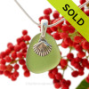 "Bright Seaweed Green Sea Glass With Sterling Silver Sea Shell Charm - 18"" STERLING CHAIN INCLUDED. SOLD - Sorry This Sea Glass Jewerly Selection Is NO LONGER AVAILABLE!"