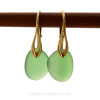 A pair of perfect natural beach found Sea Glass Earrings in a Seafoam Green on 24K Gold Vermeil Leverbacks. This is the EXACT pair of Sea Glass Earrings you will receive!